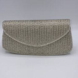Vintage Beaded La Regale Small Silver Evening Clutch Hand Bag Front Snap Purse $9.98