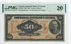 1923 Imperial Bank Of Canada 50 Note Cat3751814 Sn014483 Pmg Vf-20