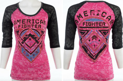 American Fighter Womens S S T Shirt ROOSEVELT Athletic NEON PINK Biker M XL $40 $22.99
