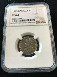 1925 Ngc Graded Canadian 5 Cent Ms-62