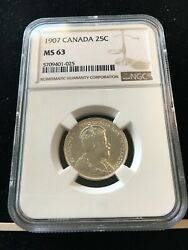 1907 Ngc Graded Canadian 25 Cent Ms-63