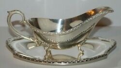 Vintage Wickford Silver Plate Gravy Sauce / Boat And Tray 3.75h X 9l