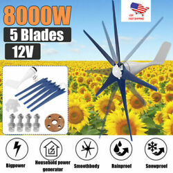 8000W Max Power 5 Blades DC 24V Wind Turbine Generator Kit W Charge Controller $148.49