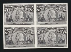 Us 245p4 5 Columbian Plate Proof On Card Block Of 4 Xf Scv 2150