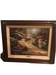 Thomas Kinkade Oil Painting Lithograph Canvas Sunset At Riverbend 35x26 Framed