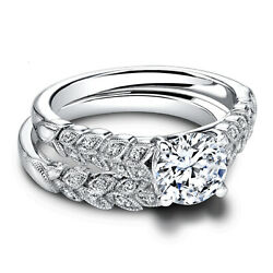 Solid 950 Platinum Real Diamond Round Cut 0.90 Ct Engagement Ring Set Size 6 7 8