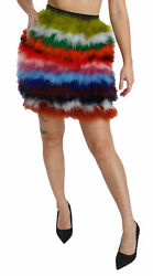 Dolce And Gabbana Skirt Feather Multicolor High Waist Mini It40/us6/s Rrp 2600
