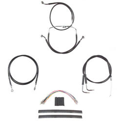 Black Cable And Line Cmpt Kit For 16 Apes 2009-2010 Harley Dyna Fat Bob Cvo