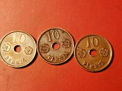 Finland 10 Penniä 1941-1943-copper 3coins-with Hole-stamp Gloss Rare Coins