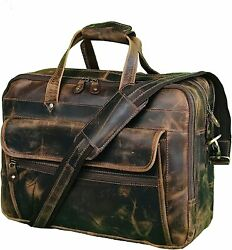 16 Inch Leather Brown Briefcase for Men Business Travel Messenger Laptop Bags $106.00