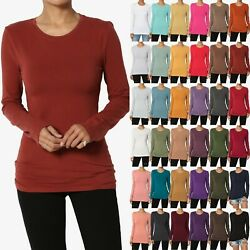 TheMogan Basic Plain Solid O Crew Neck Long Sleeve Tee Cotton Fitted T Shirts $10.99