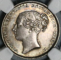 1839 Ngc Ms 64+ Victoria Silver Shilling Great Britain Coin 20091201c