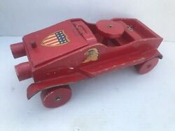 Vintage/antique Wooden Toy Truck, Red American Flag Eagle Working Steering Wheel