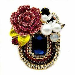 Italy Style Crystal Booch Vintage Stone Georgian Jewelry Women Christmas Gift