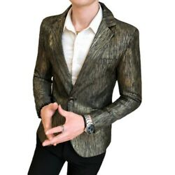 Mens One Button Glossy Blazer Jacket Long Sleeve Slim Fit Party Nightclub Chic D