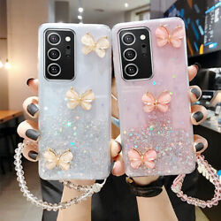 Cute Bling Glitter Butterfly Case Clear Cover For Samsung Note 20 S21 Ultra S20 $7.89