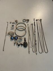 Mixed Jewelry Lot Silver 925. Chains, Rings, Earrings, Brooch. 135 Grm