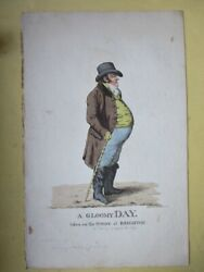 Vintage Engraving,a Gloomy Day,brighton,1801,robt.dighton,1752-1814,hand Colored