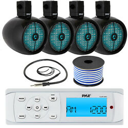 Pyle Plmr14bw Marine Stereo, 4x 8 480w Black Tower Led Speakers, Antenna,wire