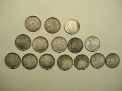 Morgan Silver Dollars - Attractive Group Of 15 Pc. - High Toned Coins