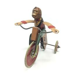Marx Toys Tin Monkey Cyclist Riding Tricycle W Lever Windup 1933