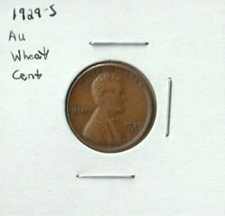 1929 S Lincoln Wheat Penny In Au Condition