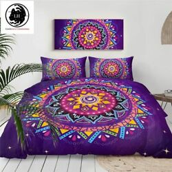 Lionhearts Bedding Set Purple Comforter Cover Queen Size Bohemian Bed Set