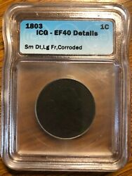 1803 Draped Bust Liberty Head Large Cent Small Date Large Fraction Variety Rare