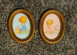 Vintage Homco Precious Moments Boy/girl Oval Framed Pictures - Guc