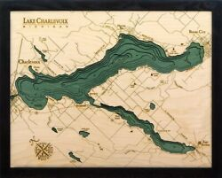 Lake Charlevoix Wood Carved Topographic Depth Chart / Map