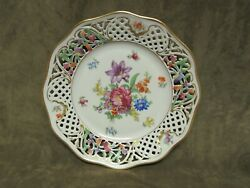1950and039s Schumann Porcelain China Bavaria Germany Dresden Flowers Design Plate