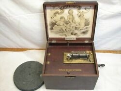 Antique Criterion 1 Disc Music Box Hand Crank Wind-up 12 Songs Table Top Wood