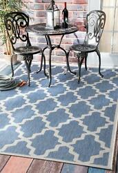 Nuloom Machine Made Gina Outdoor Moroccan Trellis Area Rug In Blue