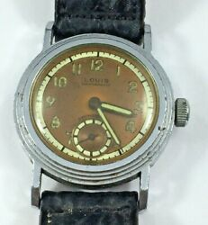 Louis Vintage Military Style Watch For Repair 30.4mm STEPPED CASE $75.00