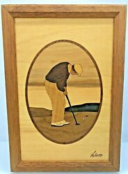Hudson River Inlaid Wood Marquetry Nelson Golfer