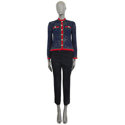 61643 Auth Navy Blue Pearl Embellished Lace Web Jacket 40 S