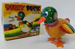 Vintage 1960's Kanto Toys, Japan Tin Litho Wind-up Dilly Duck Toy In Box