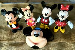 Disney Vintage Mickey And Minnie Figures And Piggy Banks + Mickey Canteen Lot Of 5