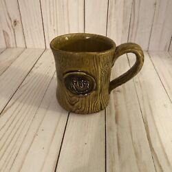Unique Handmade Carved Pottery Mug, Large Ceramic Coffee Cup, Brown
