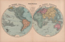 The World In Twin Hemispheres. Hughes 1876 Old Antique Vintage Map Plan Chart