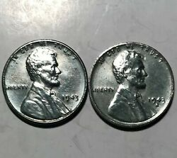 Rare 1943 And 1943 Sandnbspwartime Steel Pennies - Stick To Magnet