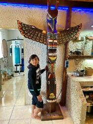 Totem Pole Indian Wooden Deco Wood Height 2,50 Metres, 98,42 Inches, 8,20 Feet