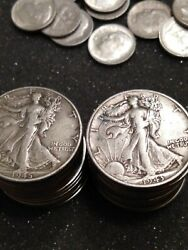 376.57 Per Unsearched Roll Of, Walking Liberty Half Dollar 90 Silver