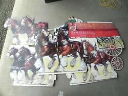 Vintage 1985 Budweiser Clydesdales And Wagon Wall Advertisement Display Cardboard