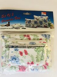 Vintage Floral Cosmetic Bag Set of 3 New $10.50