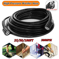 25-100ft High Pressure Washer Hose Replacement 3000psi With M22-14mm Connector