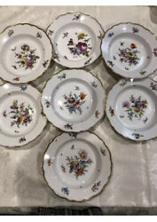Antique Meissen Germany Plate Flowers Sprig 19th Century Soup Bowl Set Of 7