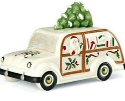 Lenox Holiday Cookie Jar Station Wagon With Santa And Christmas Tree New In Box