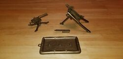 Vintage Mpc Army Gold Colored Rocket Missile, Machine Gun With Tripod And Raft
