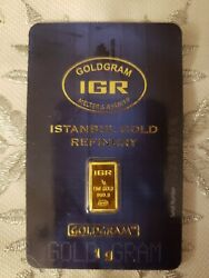 1 Gram Gold Bar 999.9 Fine Gold By Istanbul Gold Refinery Igr Sealed Certified